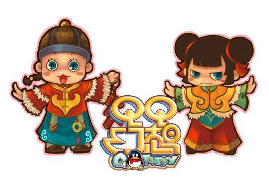 可爱中国风的拜年娃娃套装