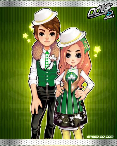 穿绿色衣服的情侣头像