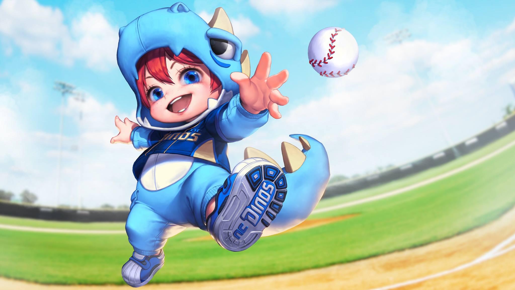 魔法少女阿拉米身着吉祥物呆萌小恐龙,变身棒球小球迷.