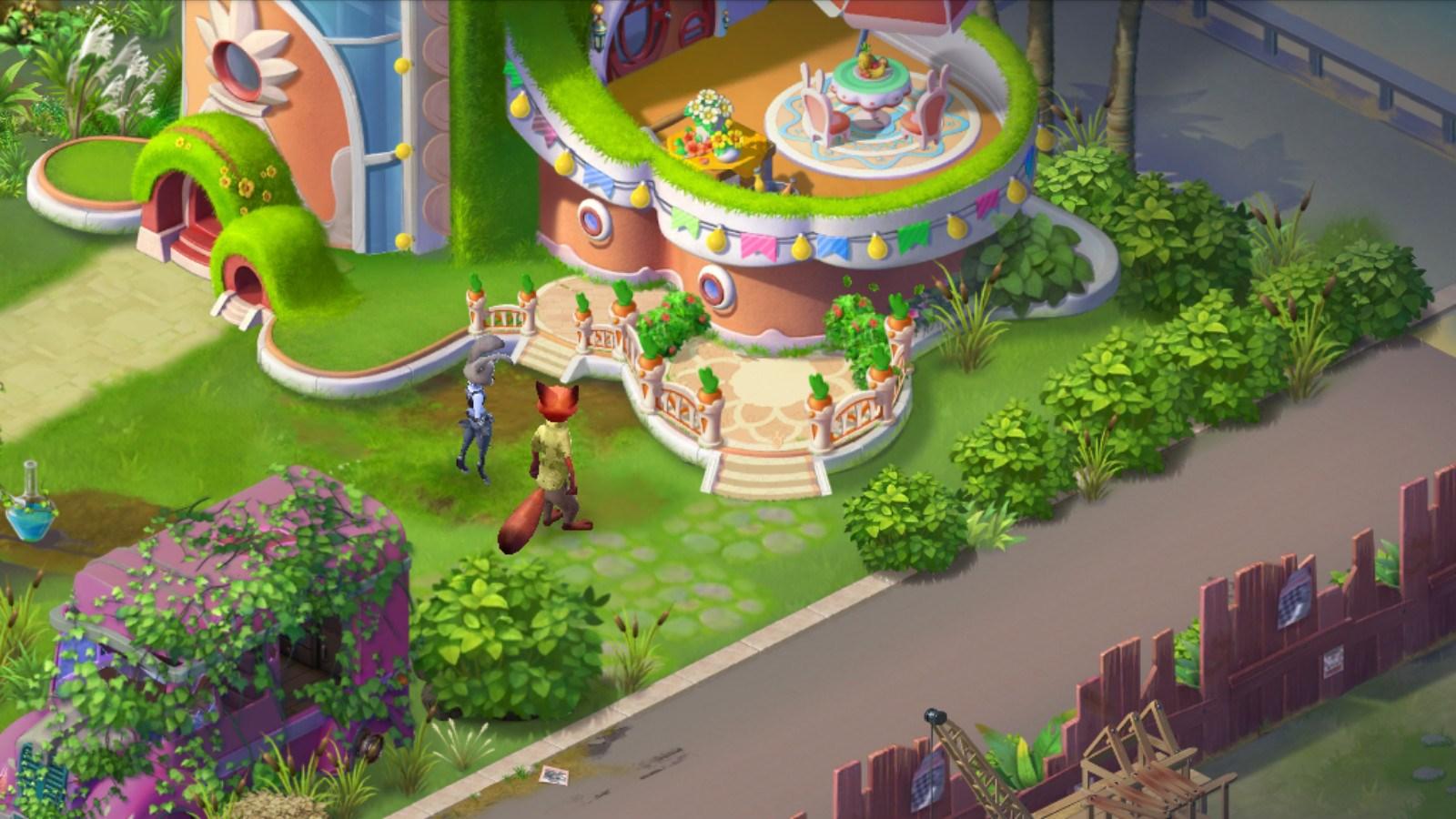 对于《疯狂动物城:筑梦日记》来说,除了消除游戏之外,建造也是这款游戏中一个比较重要的内容:玩家使用在游戏中获得的灵感,将一个处于百废待兴的公园修建好,从而招待更多伙伴前来参观。不过,建造是一个漫长的过程,很多玩家可能还没有看到成果吧,没关系,小编今天就带大家一起去看看建好后的庄园是什么样子的吧~  码头公园被分为多个区域 车站区 玩家们初次见到的车站看上去百废待兴,地板破烂不堪,路边的公交站牌和路灯都生锈开裂,连旁边的杂货店也是无人问津。  俗话说第一印象很重要嘛,车站的门面都搞成这样,谁还愿意来?于是,