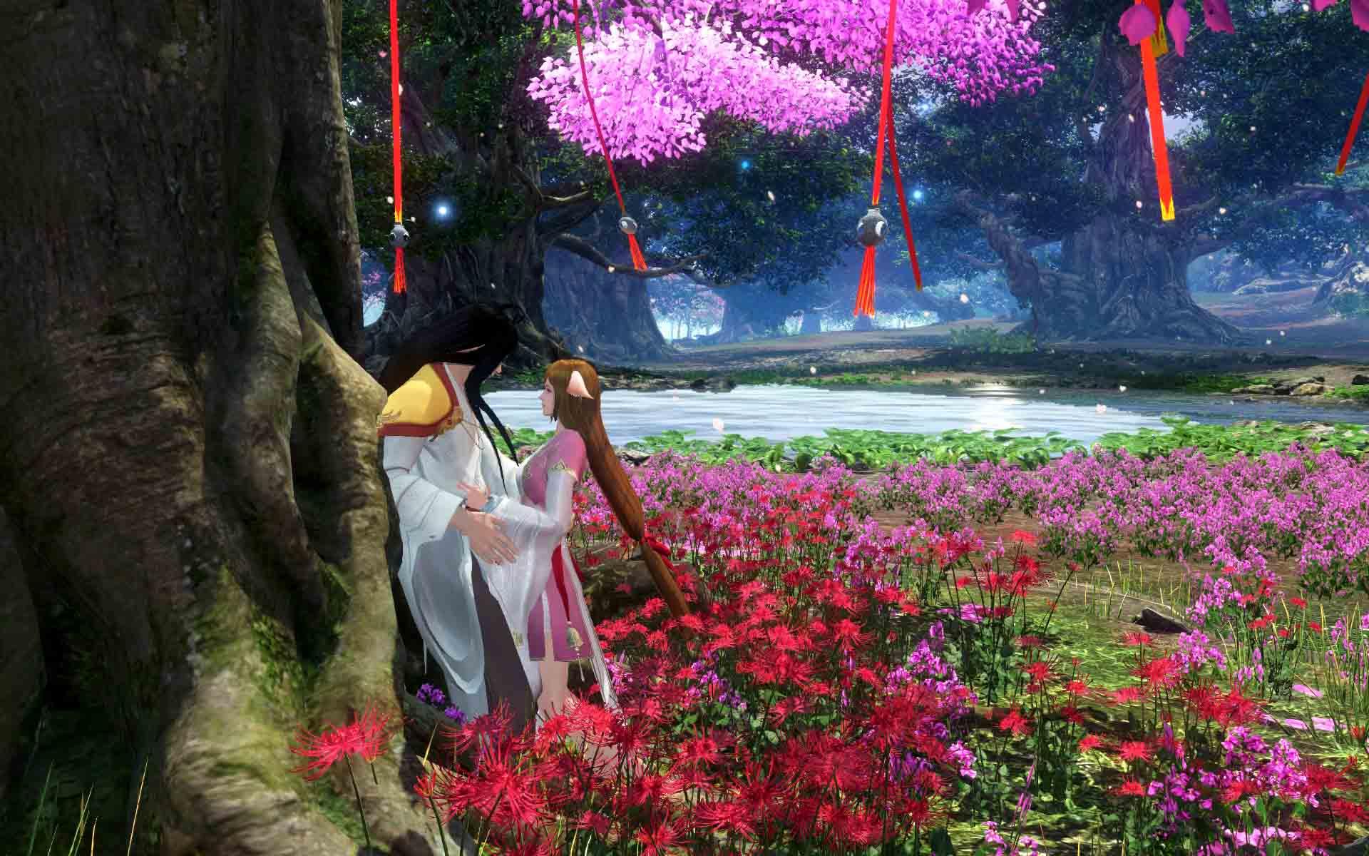 而现场这颗代表忠贞爱情的相思树也被移植到游戏中