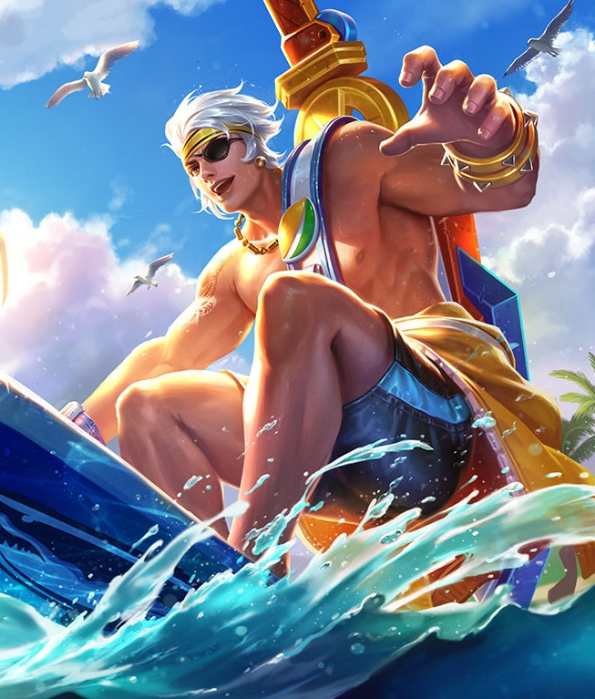 """夏侯惇的夏日皮膚是""""乘風破浪"""",下圖是游戲中夏侯惇的皮膚,真""""浪一圖片"""